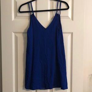 Blue v- neck double strap dress